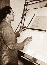Heinrich Josef Winter in jungen Jahren am Zeichenbrett